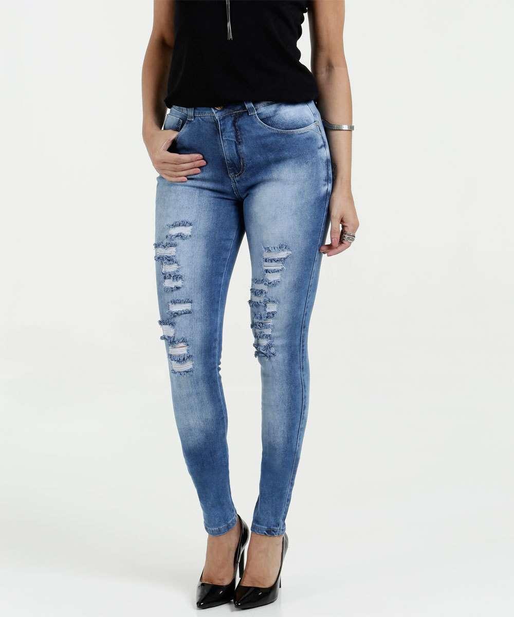 Calça Feminina Jeans Skinny Puídos Biotipo