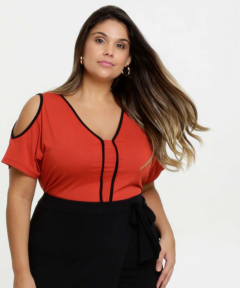 Blusa Feminina Open Shoulder Plus Size Manga Curta