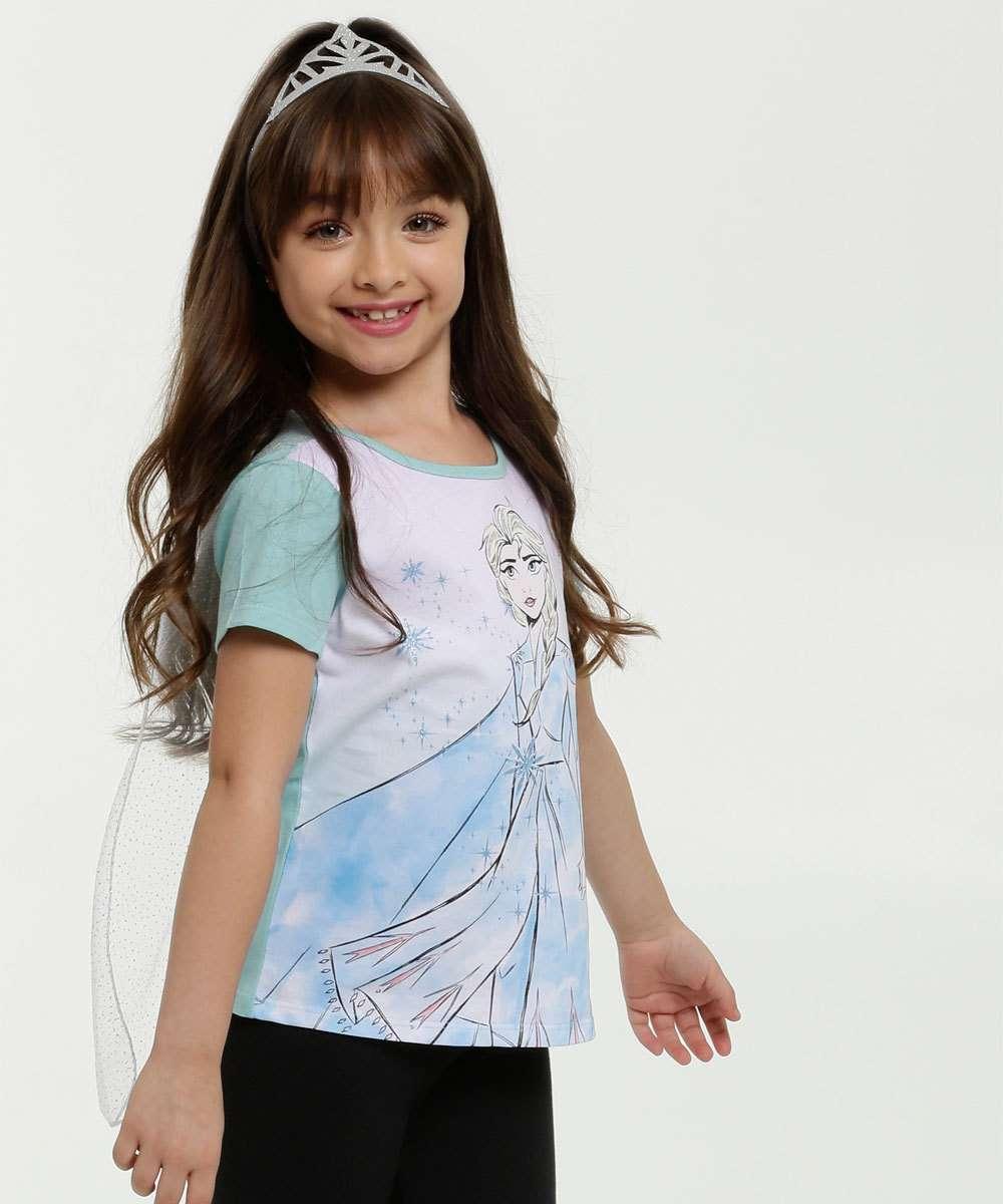 Blusa Infantil Estampa Frozen Capa Brinde Tiara Disney