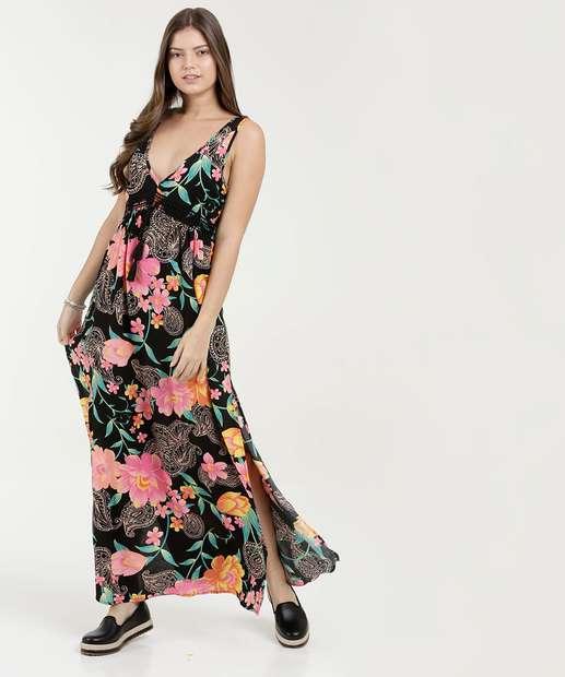 Image_Vestido Feminino Longo Estampa Floral Sem Manga Marisa