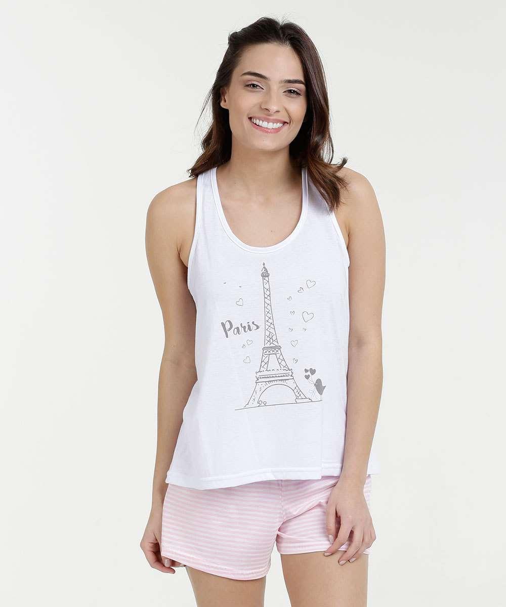 3d2162eac Pijama Feminino Short Doll Nadador Estampa Paris Marisa