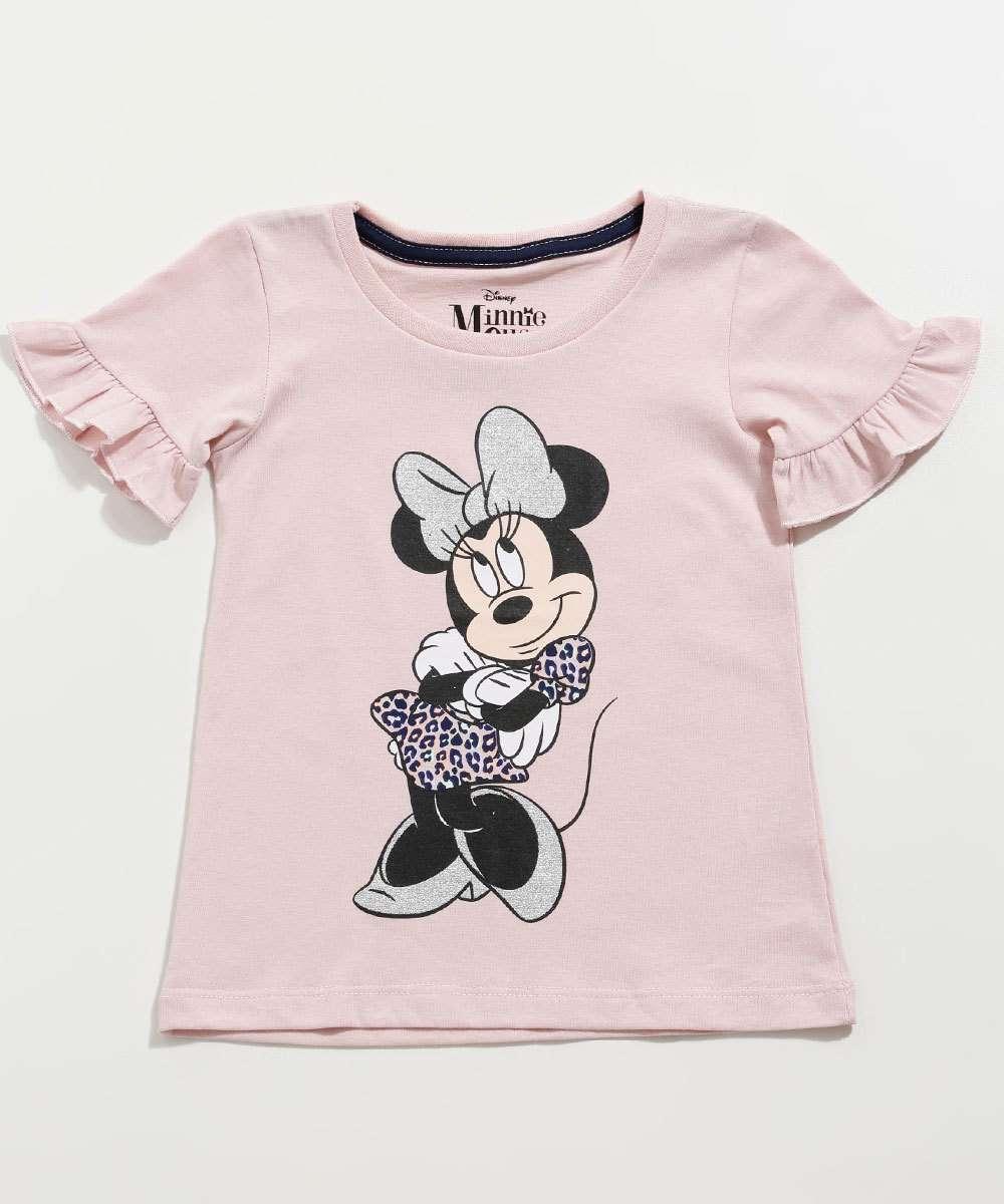 Blusa Infantil Estampa Minnie Glitter Manga Curta Disney