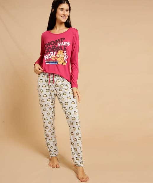 Image_Pijama Feminino Estampada Manga Longa Garfield