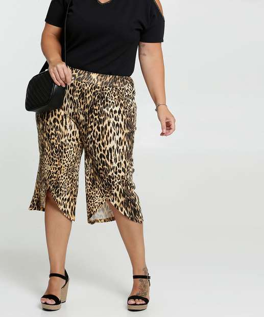 Image_Calça Feminina Pantacourt Estampa Animal Print Plus Size