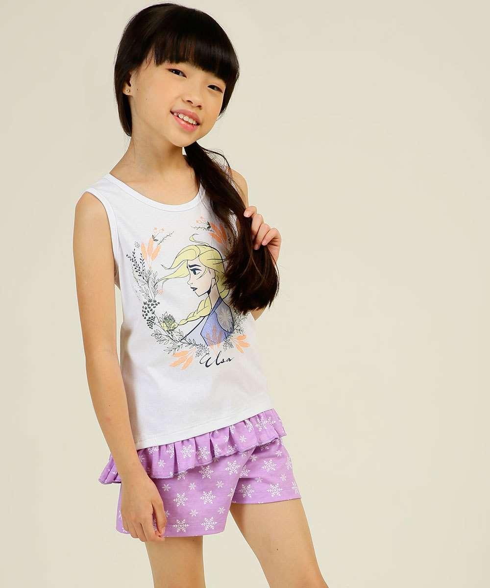 Pijama Infantil Sem Manga Frozen Disney Tam 4 a 10
