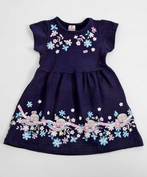Image_Vestido Infantil Piquet Estampa Flores Brandili