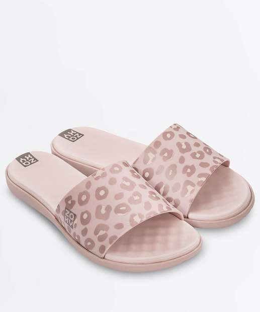 81561d1dd Chinelo Feminino Slide Estampa Animal Print Zaxy