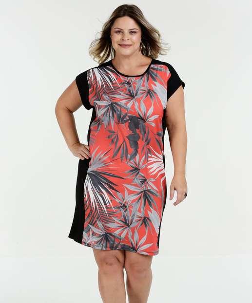 Image_Vestido Feminino Plus Size Estampa Folhas Luktal