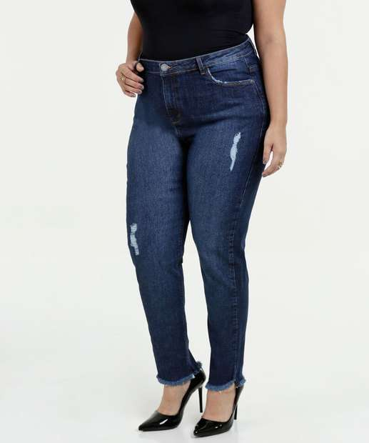 Image_Calça Feminina Jeans Skinny Puídos Plus Size Marisa
