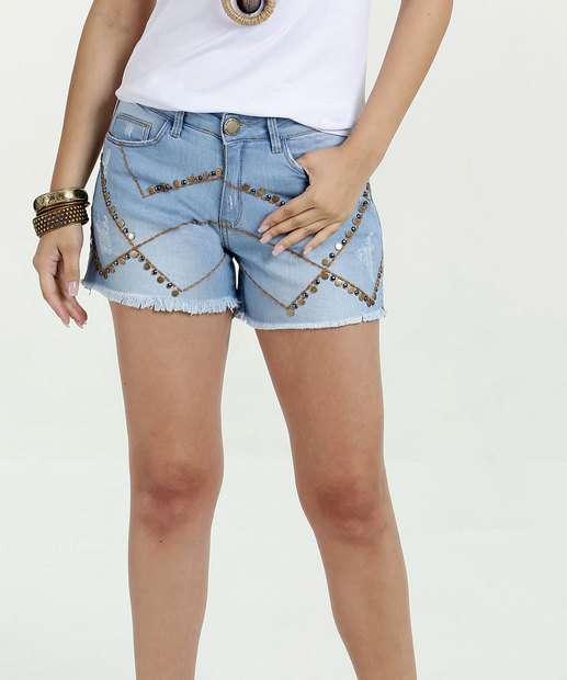 Image_Short Feminino Jeans Tachas Five Jeans
