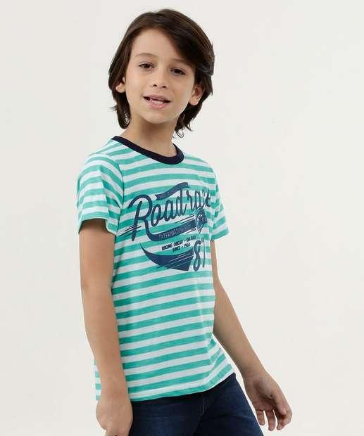Image_Camiseta Infantil Listrada Estampa Frontal Manga Curta