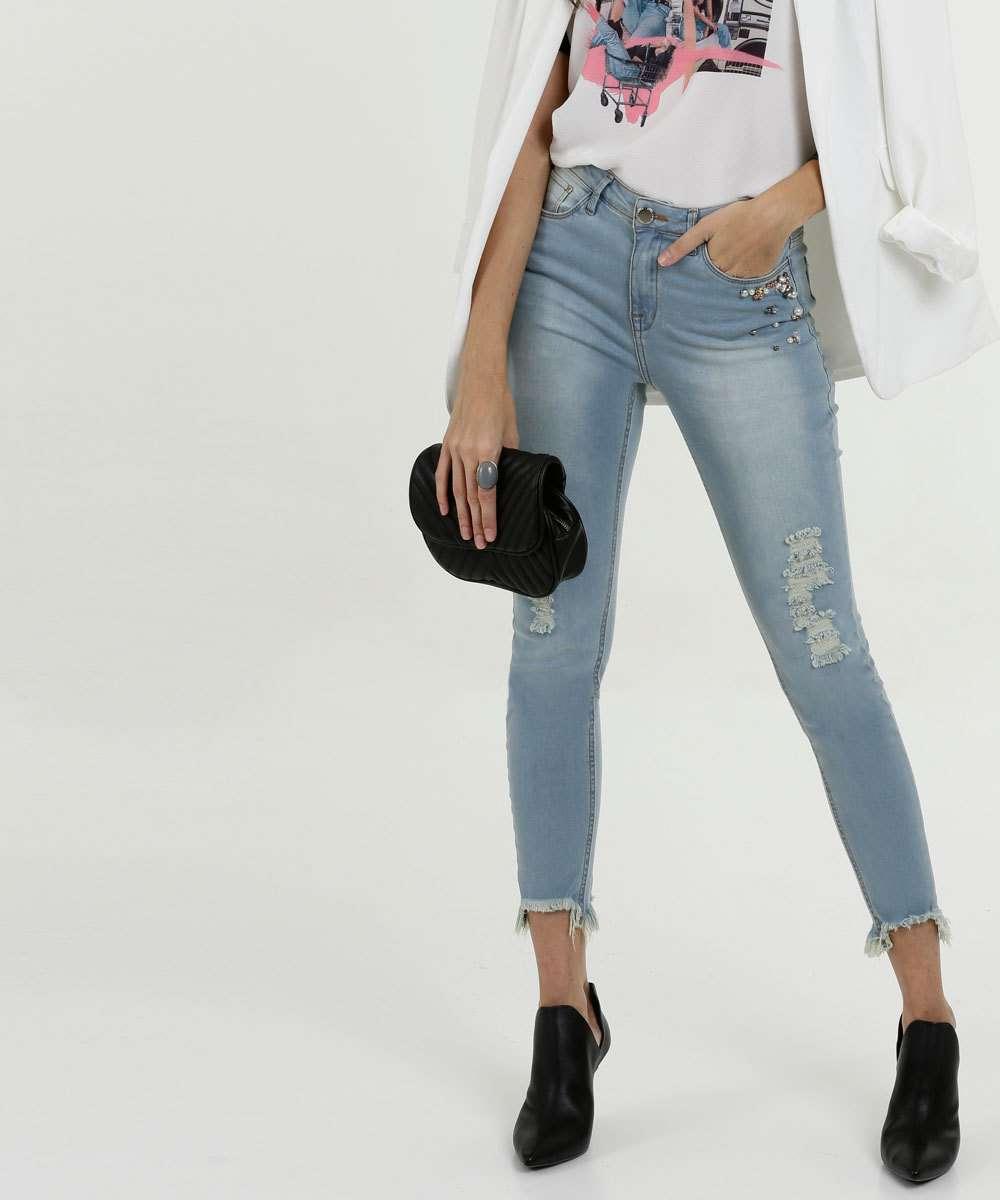Calça Feminina Jeans Skinny Barra Desfiada Pérolas Marisa