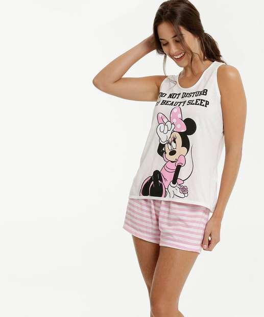 Image_Pijama Feminino Estampa Minnie Sem Manga Disney