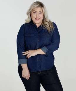 Camisa Feminina Jeans Botões Plus Size Marisa