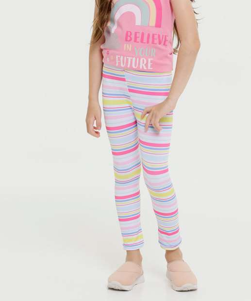 Image_Calça Infantil Legging Listrada Tam 4 a 8