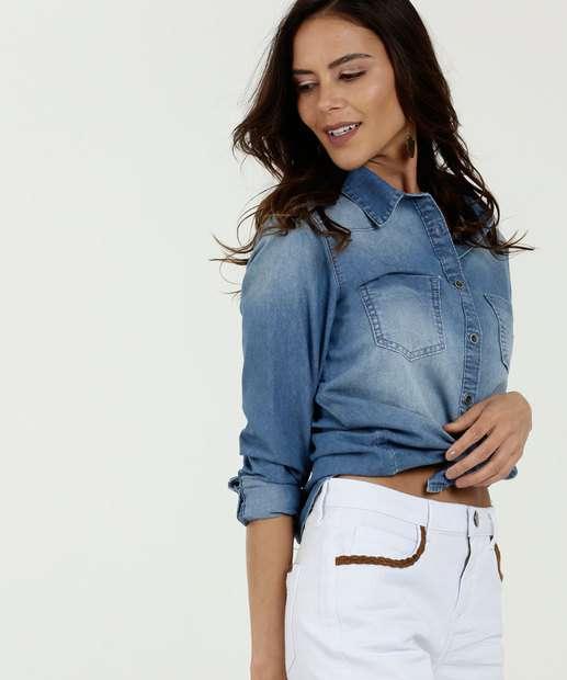 9d214e817 Camisa Feminina Jeans Bolso Manga Longa Marisa