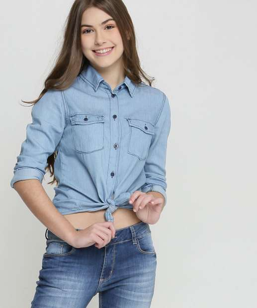 Image_Camisa Juvenil Jeans Manga Longa Razon