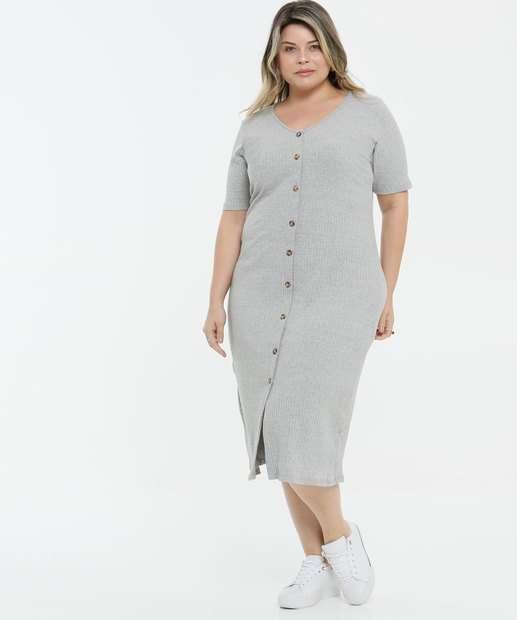 Image_Vestido Plus Size Feminino Canelado Botões