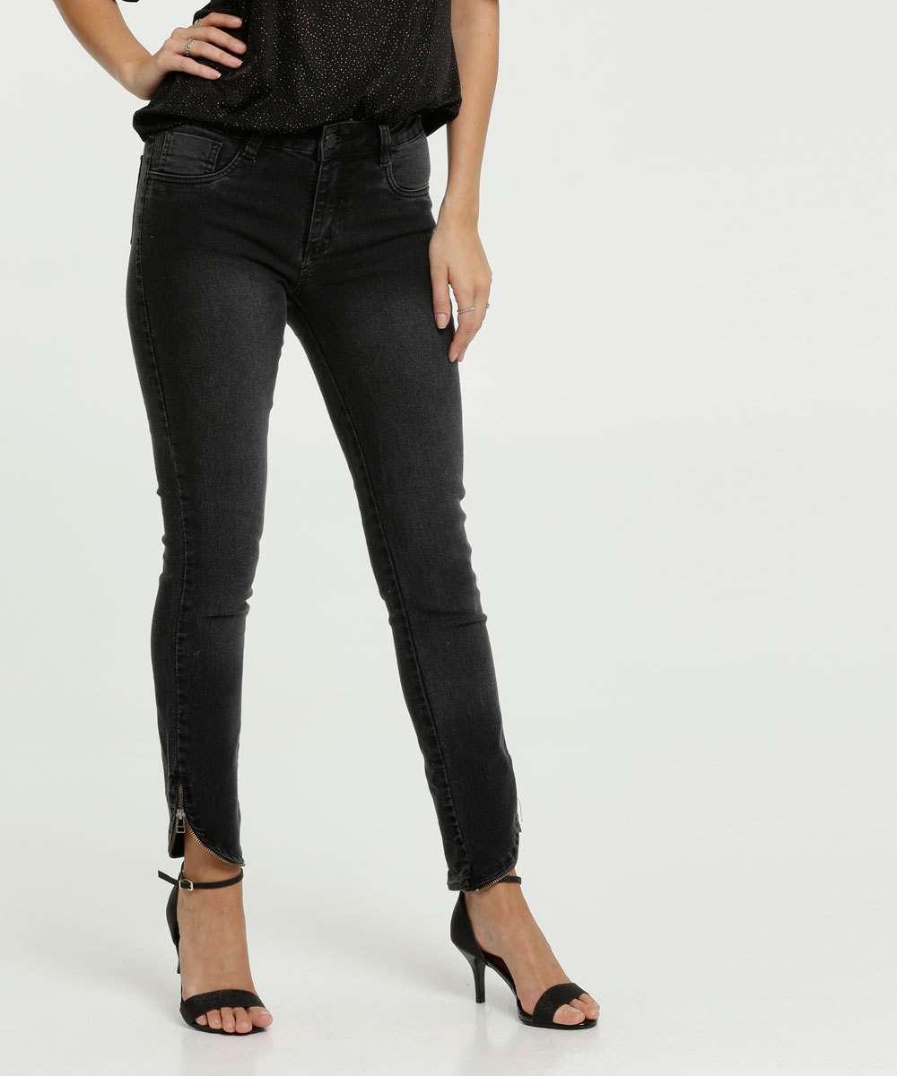 Calça Jeans Cigarrete Feminina Barra Zíper Sawary