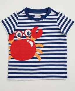 Camiseta Infantil Listrada Caranguejo Manga Curta Marisa