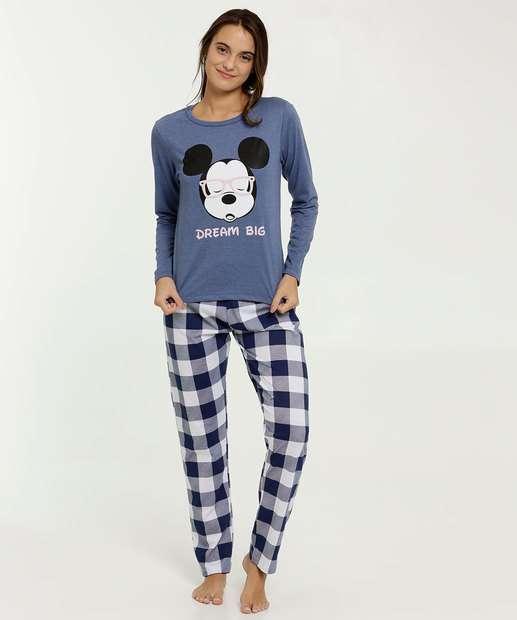Image_Pijama Feminino Xadrez Estampa Mickey Disney
