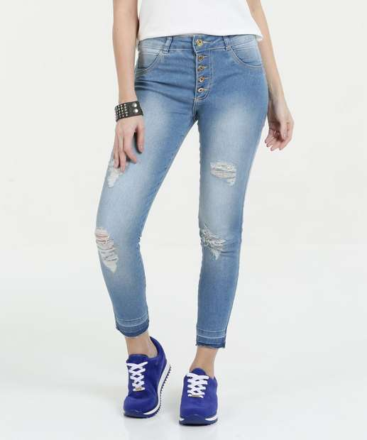 Image_Calça Feminina Jeans Stretch Destroyed Skinny Biotipo