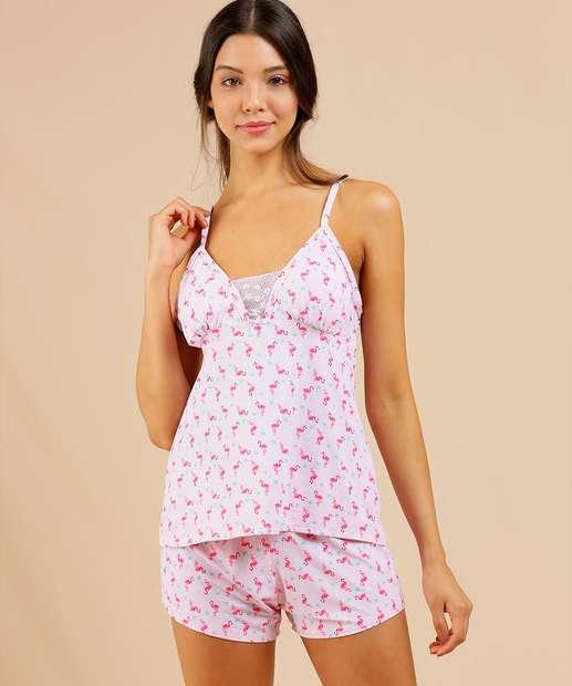 Image_Pijama Feminino Estampa Flamingo Alças Finas Marisa
