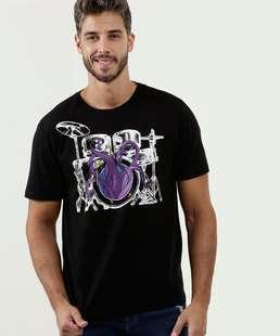 Camiseta Masculina Estampa Bateria Manga Curta Marisa