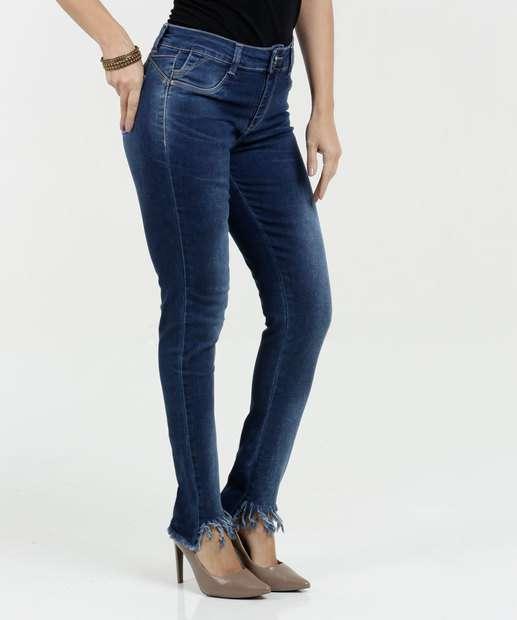 Image_Calça Feminina Jeans Skinny Barra Desfiada Sawary