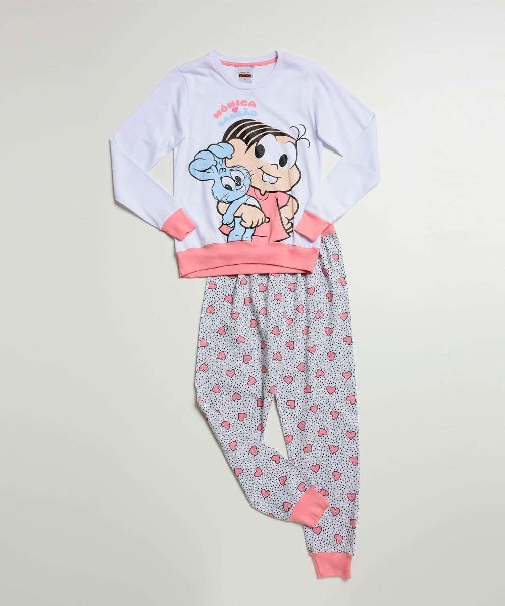 Pijama Infantil Manga Longa Corações Turma da Mônica Tam 4 a 10