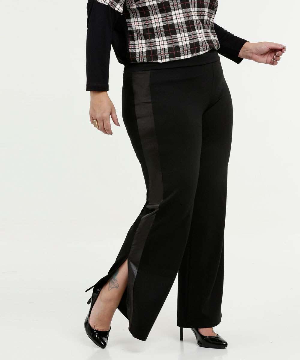 Calça Feminina Pantalona Fenda Plus Size