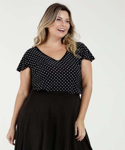Image_Blusa Feminina Estampa Bolinhas Plus Size Luktal