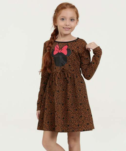 Image_Vestido Infantil Estampa Minnie Animal Print Manga Longa Disney