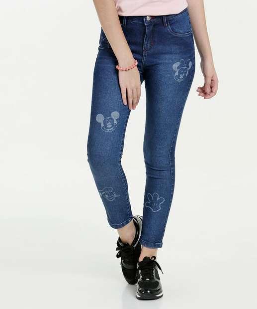 Image_Calça Juvenil Jeans Cigarrete Estampada Disney