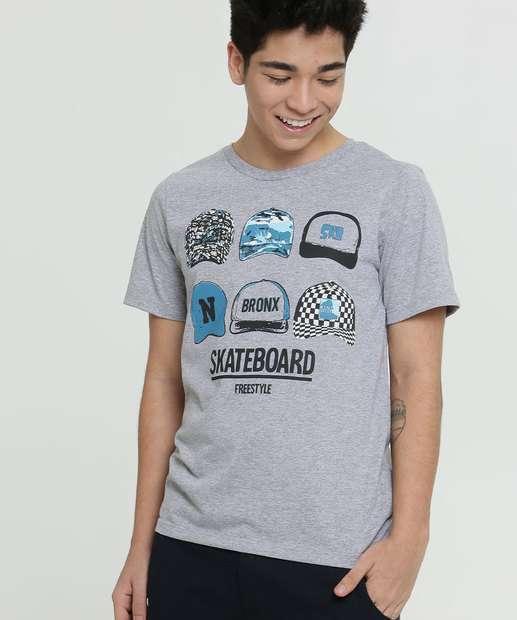 Image_Camiseta Juvenil Estampa Bonés Manga Curta MR
