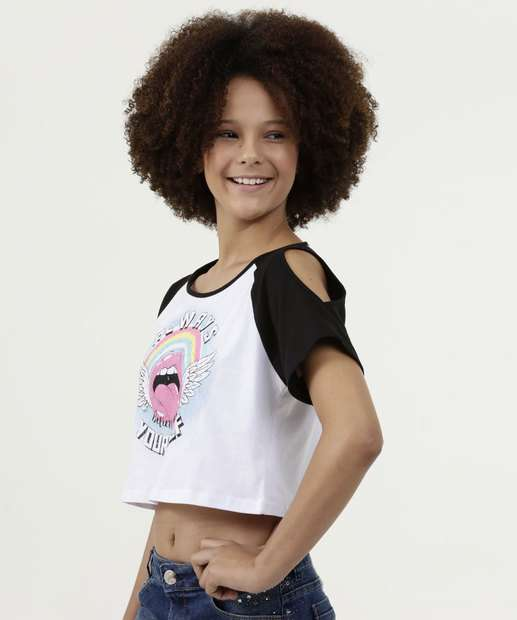 Image_Blusa Juvenil Cropped Open Shoulder Estampada Manga Curta