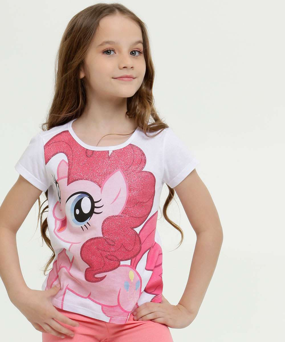 Blusa Infantil Estampa My Little Pony Manga Curta Hasbro
