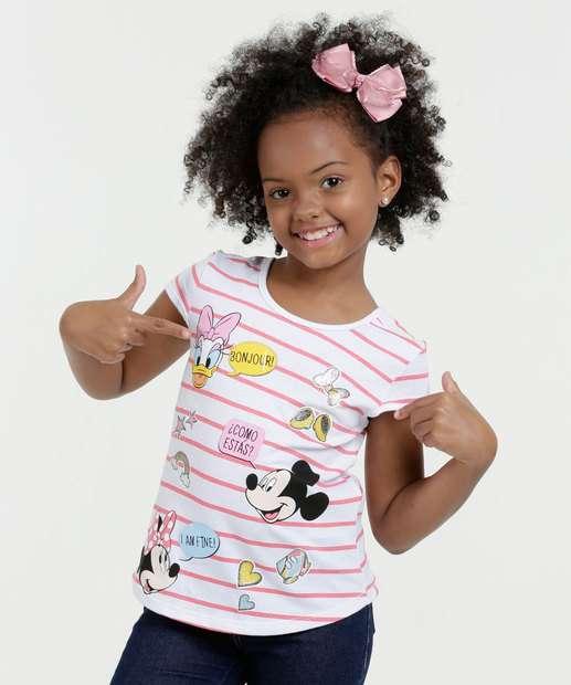 Image_Blusa Infantil Listrada Estampa Mickey Manga Curta Disney
