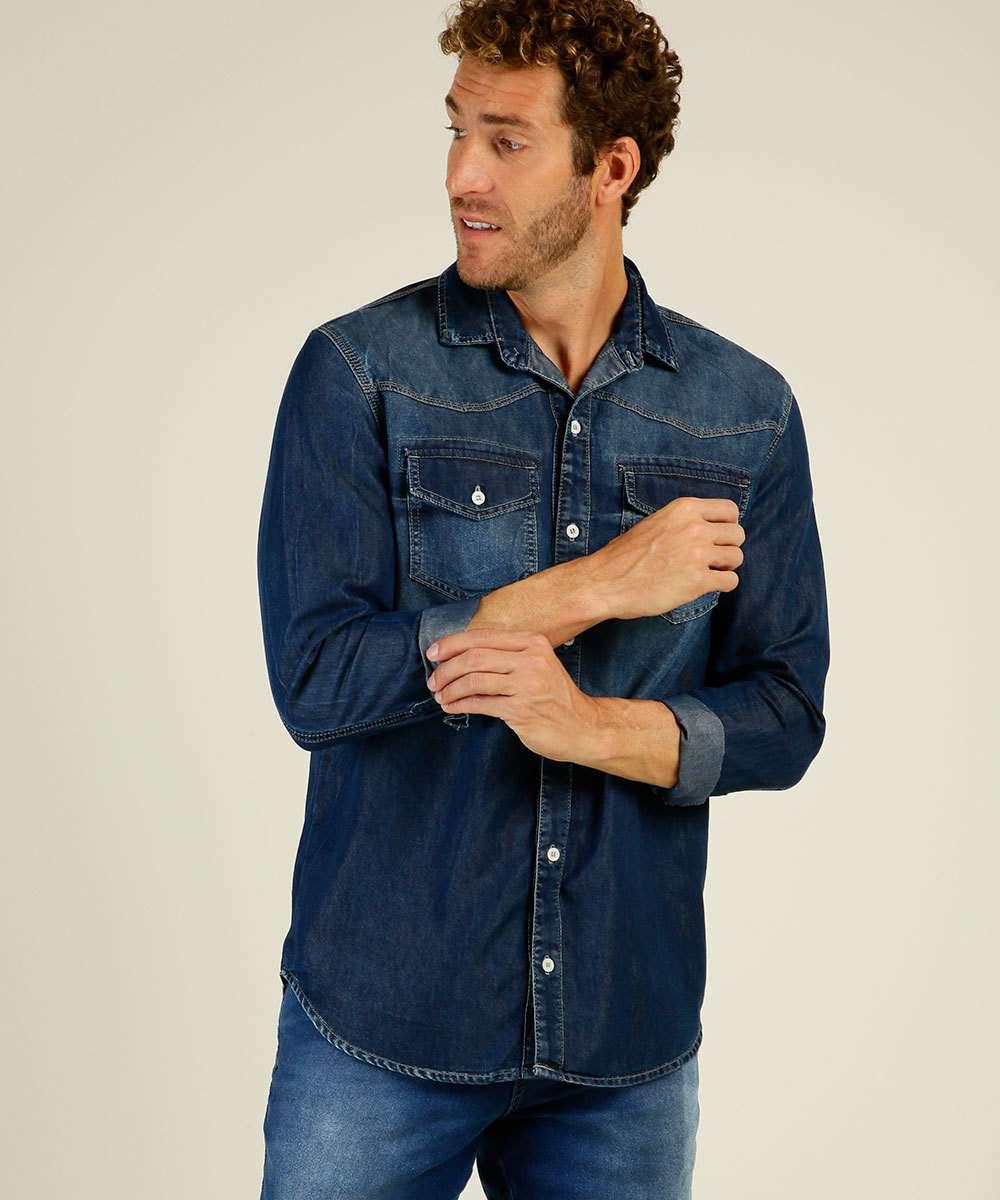 Camisa Masculina Jeans Manga Longa