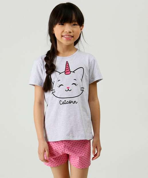 Image_Pijama Infantil Estampa Gato Unicórnio Marisa Tam 2 a 10
