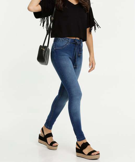 Image_Calça Jeans Skinny Feminina Cinto Marisa