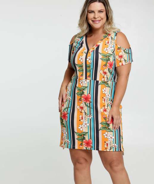 Image_Vestido Feminino Open Shoulder Estampa Tropical Plus Size