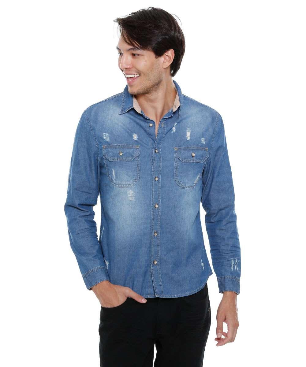 31df6bb2fc Camisa masculina jeans puídos manga longa Marisa