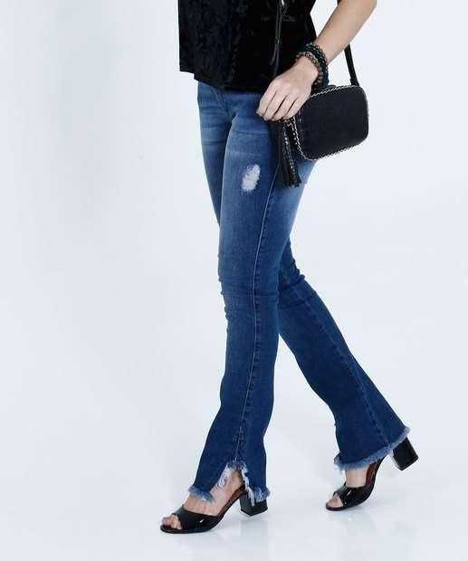Image_Calça Feminina Jeans Boot Cut Puídos Biotipo