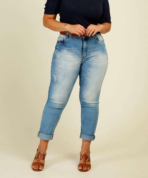 Image_Calça Plus Size Feminina Jeans Puídos Skinny Razon