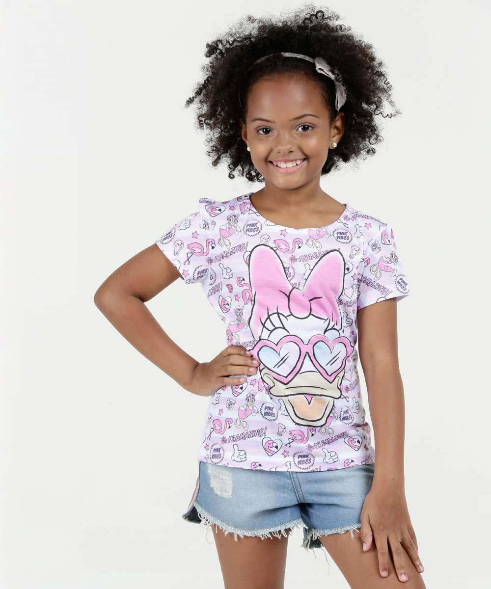 Blusa Infantil Estampa Margarida Manga Curta Disney