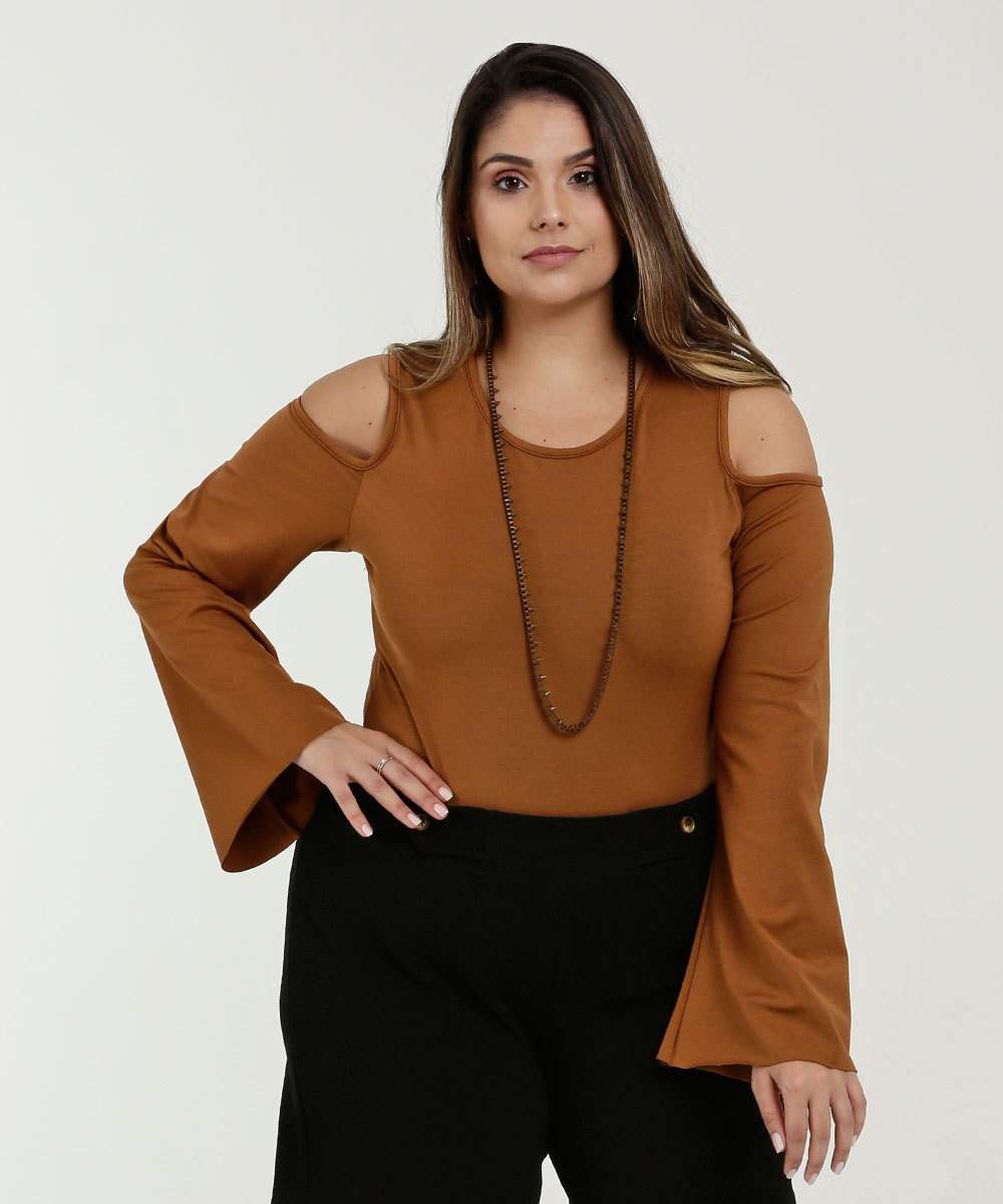 Body Feminino Open Shoulder Manga Longa Sino Plus Size