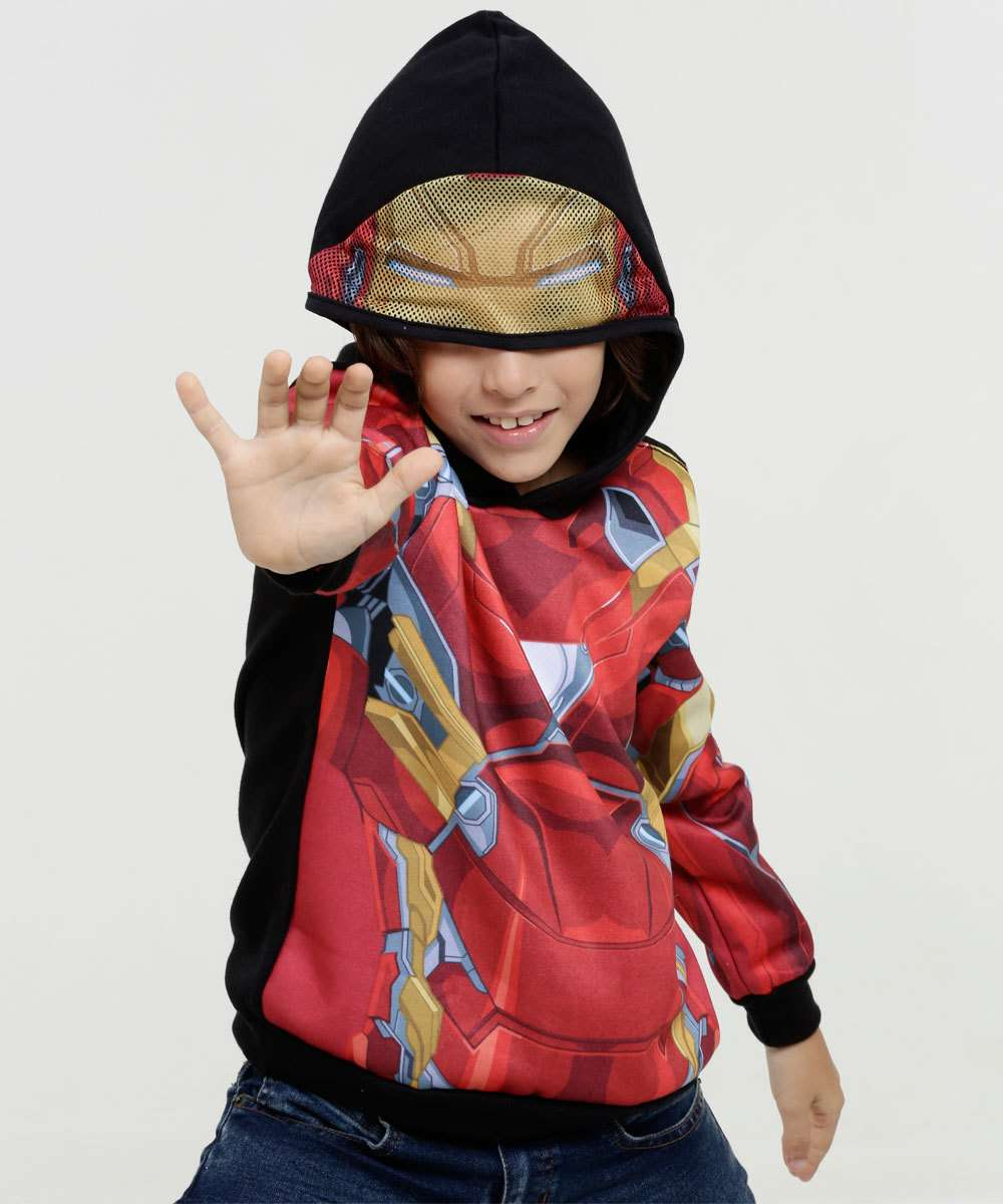 Blusão Infantil Moletom Estampa Homem de Ferro Marvel