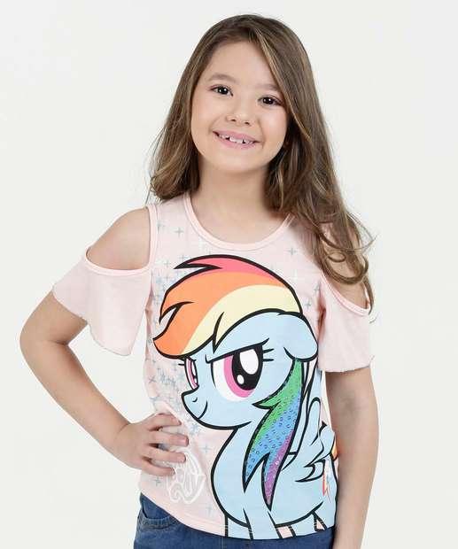 Image_Blusa Infantil Open Shoulder Estampa My Little Pony Manga Curta Hasbro