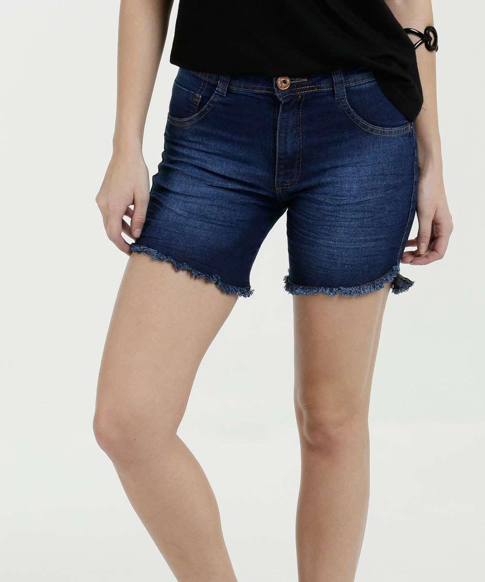 Short Feminino Jeans Barra Desfiada Biotipo
